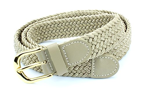 Beige Stretch Belt - Women's Braided Elastic Woven Stretch Belt Solid Color Gold Buckle and Leather Tip (Beige-M)