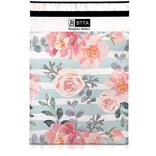 BTTA Designer Mailers 50 Pack 14.5 X 19 Pink Stripes and Flowers Poly Mailers Shipping Envelopes Bags with Custom Printed Boutique Pattern and Self Seal Adhesive Strip - Large Heavy Duty Bulk (Custom Glassware Printed)