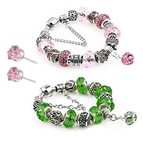 - Revki Glass Beads Charm Bracelet Enameled Crown Silver Plated Charm Bracelet 2 European Style Snake Chain Bracelet Gifts 20cm (7.8