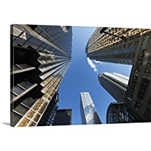 Peter Mintz Premium Thick-Wrap Canvas Wall Art Print entitled Financial district buildings on Bay Street, Toronto, Ontario, Canada