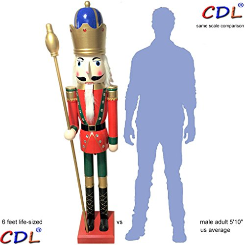 CDL 6ft tall life-size large/giant red Christmas wooden nutcracker king ornament on stand holds golden scepter for indoor outdoor Xmas/event/ceremonies/commercial decoration(6 feet, king red k18)