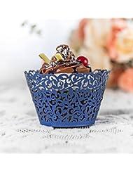 YOZATIA 60PCS Standard Navy Blue Cupcake Wrappers, Laser Cut Vine Cupcake Decorative Liners for Party Supplies (Navy Blue)