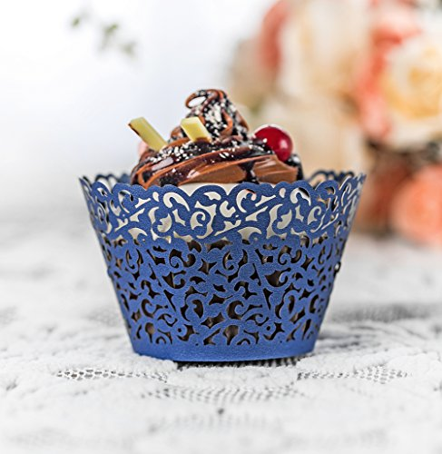 YOZATIA 60PCS Standard Navy Blue Cupcake Wrappers, Laser Cut Vine Cupcake Decorative Liners for Party Supplies (Navy Blue) by YOZATIA