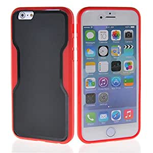 MOONCASE Flexible Gel TPU Shell Hard Back Case Cover for Apple iPhone 6 ( 4.7 inch ) Red Black