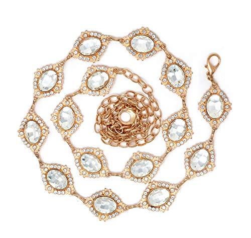 Women's Dressy Rhinestone Pave Trim Diamond Shape, Round Stone Link Chain Belt (Diamond/Gold+Clear)
