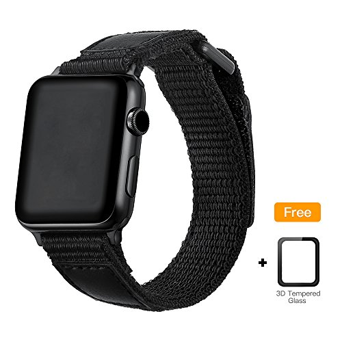 WAfeel Sport Loop Band for iWatch Series 3,Soft Nylon Smart Watch Band Replacement Strap with Adjustable Closure Wristband Breathable Strap for Apple Watch Series 3,2,1 black (Black, 38mm) by WAfeel