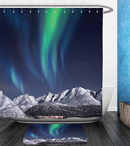 Beshowereb Bath Suit: Showercurtain Bathrug Bathtowel Handtowel Sky Decor Northern Lights Aurora over Fjords Mountain at Night Norway Solar Image Green Dark Blue by Beshowereb