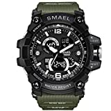 SMAEL Men's Sports Analog LED Digital Wrist Watch Dual Quartz Movement Military Army Sport Watch Water Resistant (Army Green)