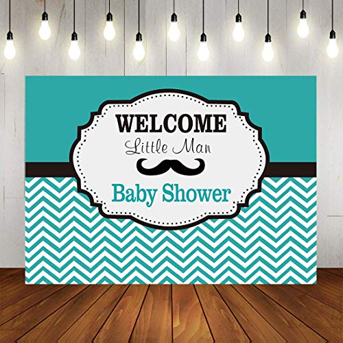 Botong 7x5FT Little Man Birthday Party Backdrop Mustache Wavy Stripes Boy First Birthday Photography Background Cake Table Decorations Baby Shower Photo Studio Booth Props th91-7x5FT