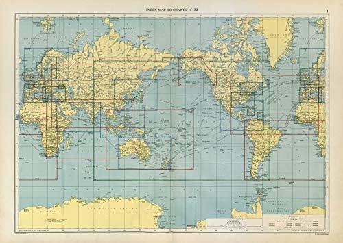 Mundo. Mapa de índice a gráficos. Mapa antiguo vintage grande de ...
