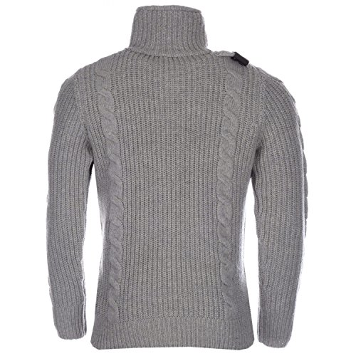 Midland Bargains Light Grey MA.Strum Mens Button Neck Cable Knit Jumper -  Size : L: Amazon.co.uk: Clothing