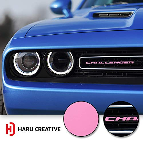 Haru Creative - Front Grille Hood Emblem Badge Nameplate Overlay Vinyl Decal Sticker Compatible with and Fits Dodge Challenger 2015 2016 2017 2018 - Matte Pink