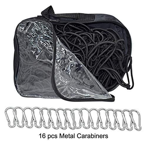 Cargo Nets for Pickup Trucks 5/'x7/' Heavy Duty Truck Bed Net with 16 pcs Metal Carabiners Hooks Bungee Netting Black