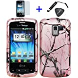4pcs Combo: ITUFFY Mini Stylus Pen + LCD Screen Protector Film + Case Opener + Silver Pink Pine Tree Leaves Camouflage Outdoor Wildlife Design Rubberized Snap On Hard Cover Protector Faceplate Skin Case for Verizon LG Enlighten VS700 / Sprint LG Optimus Q Slider LS700 VM701 / Straight Talk LG L55C / LG Optimus Zip L75C