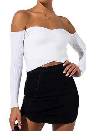 c6222cef2e7 AKIRA Women's Stretch Ribbed Wrap Front Off Shoulder Bardot Long Sleeve  Crop Top-White_S/
