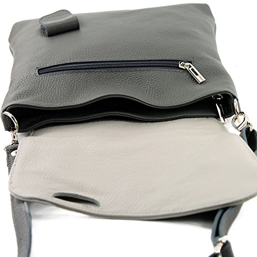 Dark 2in1 Gray Modamoda Damentasche Nappa Bag Leather De Nt07 Messengerasche Ital Shoulder yfHfqvw1p