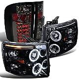 09 silverado black back bumper - Chevy Silverado Glossy Black Halo Projector Headlight+Smoke Led Tail Lamp