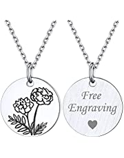ChicSilver Women Birth Month Flower Necklace 925 Sterling Silver Dainty Engraved Floral Disc Coin Pendant Personalized Jewelry, Silver/Gold (with Gift Box)