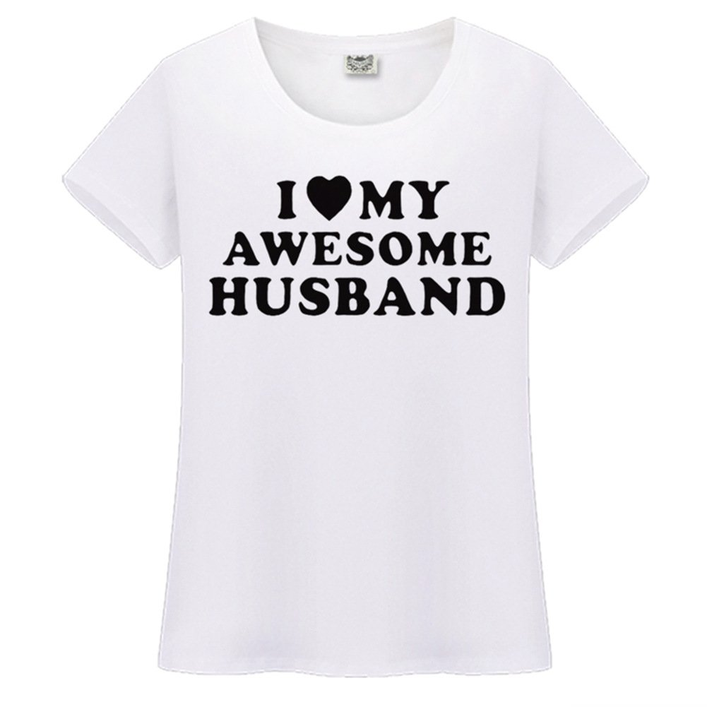 Womens Cotton Letter Printed Casual T-Shirt Top I Love My Awesome Husband-ANZ