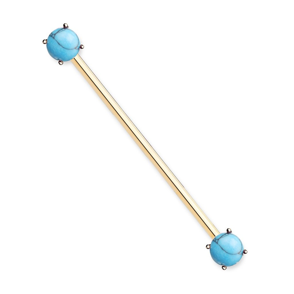 Pierced Owl Round Turquoise Stone Industrial Barbell in 316L Surgical Steel