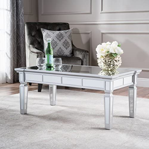 Christopher Knight Home 303251 Sola Coffee Table, Clear Mirror White