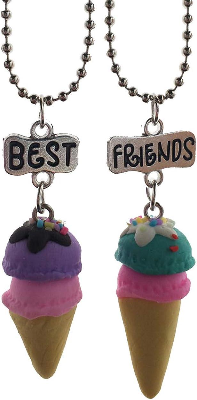 Ice Cream Necklace SET of 2 SMALL Ice Cream Charm Necklaces Pendant Necklace Scoop Necklace Best Friend Necklace Friendship Necklace Gift
