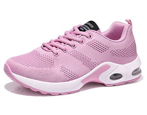 Mujer Respirable Zapatillas de Deporte Cómodos Zapatos con Cordones Calzado Deportivo de Exterior Rosa