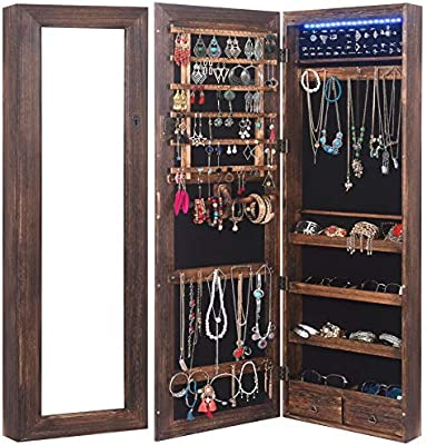 Rhf Solid Wood Rustic Jewelry Organizer Lockable Jewelry Armoires Large Jewelry Cabinet With Mirror 2 Drawers 18 Leds Jewelry Boxes Case Hanging Over The Door Jewelry Armoire With Mirror Amazon Sg Home