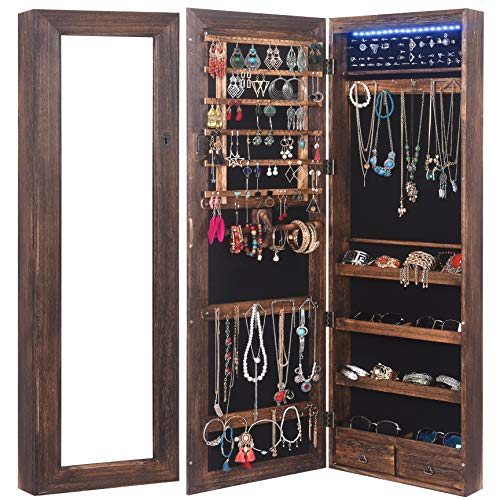 - RHF Solid Wood Rustic Jewelry Organizer Lockable Jewelry Armoires Large Jewelry Cabinet with Mirror 2 Drawers 18 leds Jewelry Boxes Case Hanging Over The Door Jewelry Armoire with Mirror