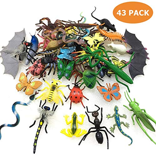 43 Pack Fake Bugs Mini Realistic Insects Toys for Kids ()