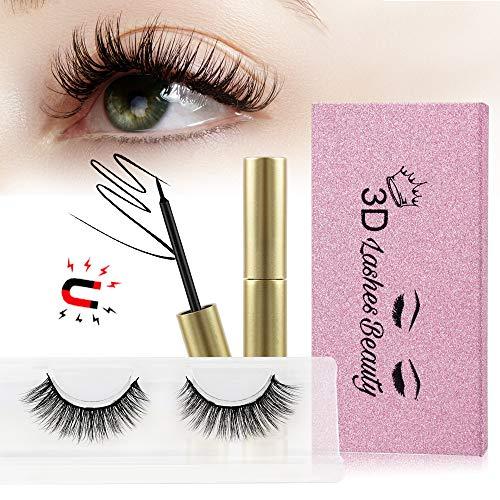 Magnetic Eyeliner with Magnetic Eyelashes, Magnetic Eyeliner Kit with Magnetic Natural False Lashes