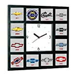 History of Chevrolet Chevy Bowtie Garage Man Cave Office Clock