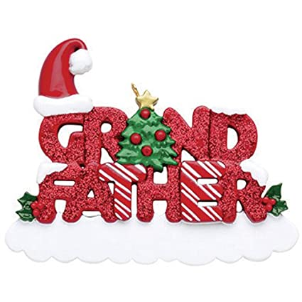 Father Christmas Images Free.Personalized Grand Father Christmas Ornament 2018 Glitter Word With Holly Santa Hat Tree Best Worlds Greatest Kids Love Member Tradition Special