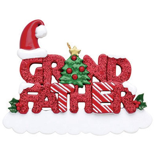 Personalized Grand-Father Christmas Tree Ornament 2019 - Glitter Word Holly Santa Hat Best World