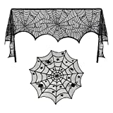 Luxanna 2 Pack Lace Spider Web Decoration, Cobweb Fireplace Scarf Festive Supplies Halloween Christmas Party Table Door Window Decoration Black (2)