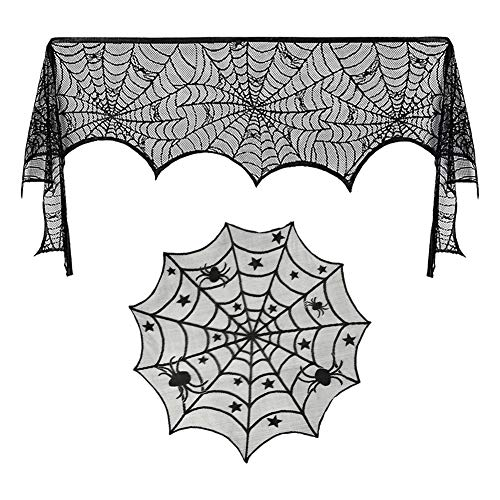 Luxanna 2 Pack Lace Spider Web Decoration, Cobweb Fireplace Scarf Festive Supplies for Halloween Christmas Party Table Door Window Decoration Black (2) ()