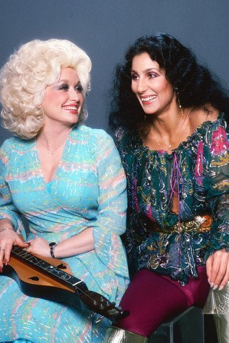 (Dolly Parton and Cher rare 1980's studio pose together two legends 24X36 Poster)