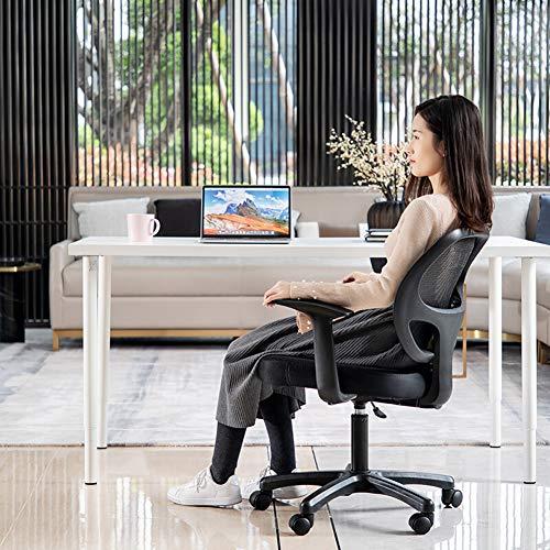 SHANG Ergonomisk kontorsstol, justerbar och roterbar dator arbetsstol med bekväm andningsbar ländrygg stöd svart nät hög rygg svart
