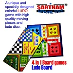SARTHAM 4 in 1 Board Games for Kids – Ludo, Snake and Ladder, Chess and Racing (Special Edition 30 x 30 cm)