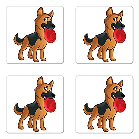 Amazon Com German Shepherd Coaster Set Of Four Friendly Dog Of