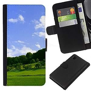 JackGot ( Natura Bella Forrest Verde 25 ) Sony Xperia Z1 L39 la tarjeta de Crédito Slots PU Funda de cuero Monedero caso cubierta de piel