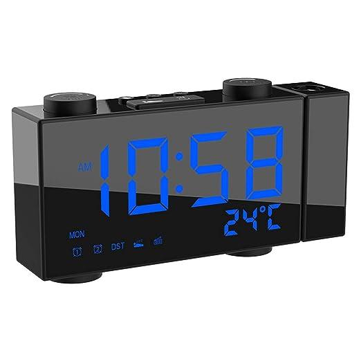 FGKLU Reloj de Proyector Creativa, Reloj Despertador Digital ...