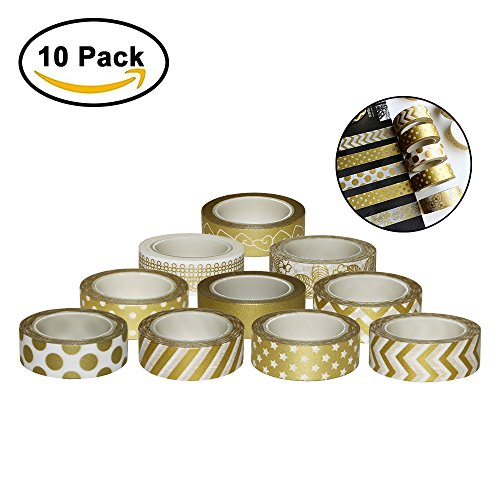 Kbnian Washi Tape Crafts 10Pcs/Set Quality Stationery for Diy Scrapbooking Photo Album School Tools Masking Tape Scrapbook Japanese paper Stickers Gift decorative tape gold 1.5cm x10m