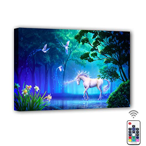 Canvas Prints Wall Art Led with Remote Control,7 Color Changing Canvas Wall Decor for Home, Living Room, Office or Classroom|15.75