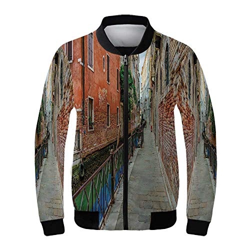 (Venice Women's Windproof Jacket,Empty Idyllic Streets of Venezia Travel Destination Romantic Vacation Old Buildings for Outdoor Hiking,S )