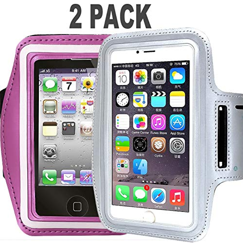 CaseHQ [2pack] Water Resistant Running Sports Armband Phone Case Reflective with Key Holder for Workout for iPhone X 8 7 Plus, 6 Plus, 6S Plus (5.5-Inch), Galaxy S6/S5, Note 4 (Silver+Pink) ()