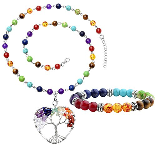 Top Plaza 7 Chakra Gemstones Tree of Life Healing Crystal Energy Yoga Balance Meditation Semi Precious Beads Necklace Bracelet Set(Heart Shape)