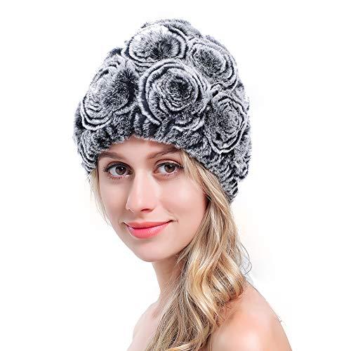 - MEEFUR 100% Real Rex Rabbit Fur Beanie Winter Warm Stretchy Girls Soft Knitted Genuine Fur Rose Hat Grey