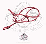 #9: Sierra Horse Halter Poly Rope Tied Horse Training Halter - Corrects Bad Habits in All Breed of Horses - 4 Sizes and Colors - Red, Grey, Black, Brown (Medium, Red)