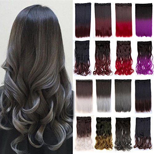Clip in Hair Extensions Ombre Dip Dye Color One Piece Synthetic Hairpiece 2 Tone Japanese Kanekalon Fiber Full Head Thick Long Curly Wavy 1pcs 5clips for Women 23'' / 23 inch (Dark Brown to Gray)